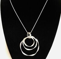 Aigner Pendant Necklace Modern 3 Open Circles Designer Jewelry