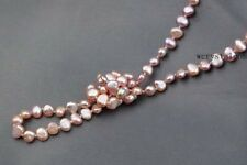 Strand Natural pink Purple Cultured Fresh water Pearl opera Long Necklace nugget