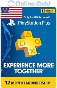 PlayStation 12 Monate Months 365 Days Membership PSN Plus Network Key PS3 4 - US