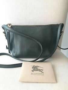 BURBERRY Dark Green Calf Leather Small Saddle Stitch Crossbody Bag