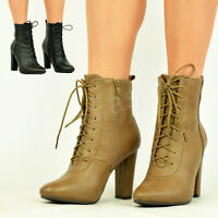NEW WOMENS LADIES LACE UP ANKLE BOOTS BLOCK HIGH HEEL ZIP SMART SHOES SIZE UK