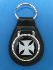 MALTESE IRON CROSS AUTO LEATHER KEYCHAIN KEY CHAIN RING FOB #205