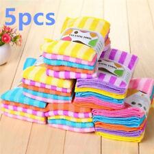 5x mehrfarbige weiche beruhigende Baumwolle Reinigung Waschlappen Handtuch RA