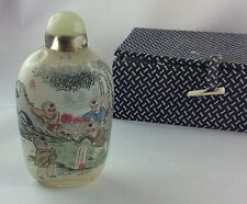 Kleine Glas Schnupftabak Flasche Snuff bottle China, feinste Innenbemalung