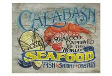 Calabash Seafood by Zeke's Antique Signs Fine Art Paper Print Home Decor 826870