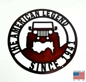 """14"""" Red Metal Sign w/ Jeep The American Legend Since 1941 Off Road Emblem"""