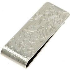 Japanese Money Clip Metal Silver-tone Engraved Steel Cut Koi Carp, Made in Japan