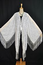 Classic White Eastern Flower Burnout Velvet Fringe Jacket Coat Duster Stunning