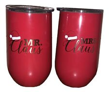 Wine Tumblers ~ Mr & Mrs Claus ~ Christmas ~ Red ~ Double Wall ~ New