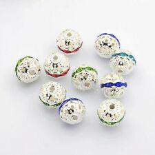 10 Metallperlen 10 mm Silber bunt Beads Basteln Schmuckherstellung Perlen - 2755