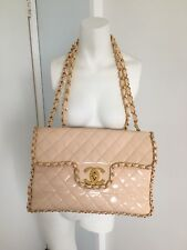 Auth Rare CHANEL Jumbo Quilted Chain Trim Patent Leather Shoulder Bag