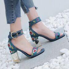 Ladies Denim Sandals Block High Heels European Pumps Dress Shoes Size UK 2.5-7 #