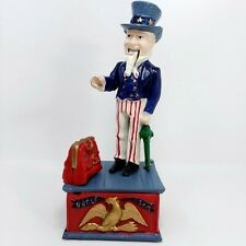 "10"" Wilton Products Reproduction Cast Iron Uncle Sam Mechanical Bank"