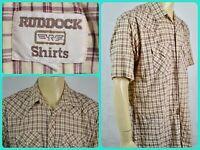 Vtg Ruddock Red Plaid S/S Pearl Snap Western Cowboy Shirt Mens 18 Gauze Fabric