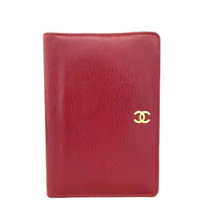 CHANEL CC Logo Red Leather Bifold Wallet /E0435