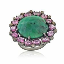 Green Emerald Diamond Pink Sapphire Cocktail Ring 925 Silver Vintage Jewelry