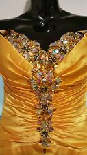 Yellow Mermaid Party Gown 4 Evening Dress Luxury Crystals Formal $430