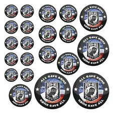 21 Premium Domed Round 3M Decal Sticker Set - POW MIA USA FLAG - 084