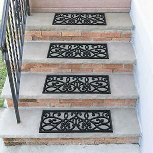 """Sweet Home Stores Rubber Stair Treads Black Iron Cutout 10"""""""" X 30"""" 5PK Flower..."""