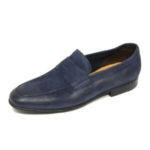 G4526 mocassino uomo GREEN GEORGE blue suede loafer shoe man