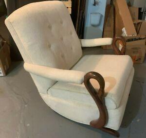 Antique VTG Goose Neck Platform Spring Rocker Victorian Rocking Chair Swan Arms