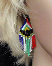 South African flag hand made zulu beaded jewellery drop dangle earrings ethnic