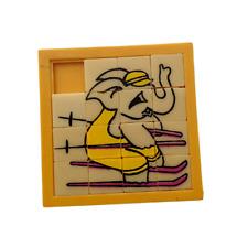 Vintage Slide Puzzle・Skiing Elephant・Roalex Style Game・Retro Tile Block Toy