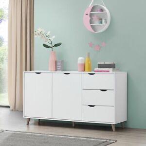 White 2 Doors 3 Drawers Pulford Scandi Sideboard Buffet Storage Cabinet ‖ BTAD