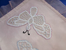 VINTAGE PINK PILLOW COVER - SATIN / NETTING / TAPE LACE BUTTERFLYS