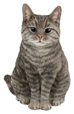 More details for sitting tabby cat highly detailed garden decoration