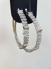 Hooped Earrings 3-Line Sparkly Diamante