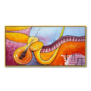 YA544 100% Hand-painted Abstract oil painting on canvas musical note Unframed