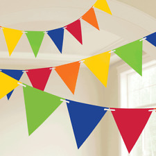 Plastic Multi Coloured Rainbow Birthday Party Flag Bunting Banner Decoration 10M