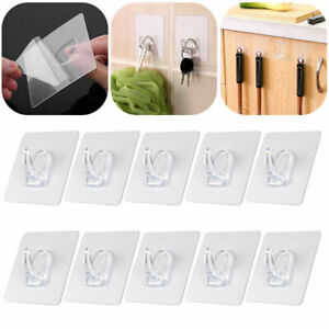 10X Anti-skid Clear Hooks Reusable Strong Sticky Traceless Transparent Wall Hook