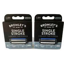 Lot of 2 Bromley's For Men Single Stroke 3 Blade Cartridges 4 Pk = 8 Razor Heads