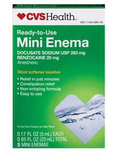 CVS Health Mini Enema Ready-to-Use Stool Softener Laxative , Anesthetic