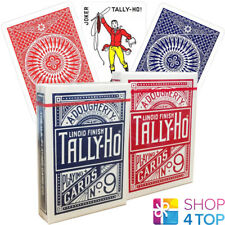 2 DECKS BICYCLE TALLY HO CIRCLE PLAYING CARDS STANDARD INDEX LINOID 1 RED 1 BLUE