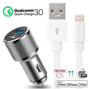 Original OEM Apple Lightning USB Cable +5.4A USB Car Charger for iPhone X/8/7/6S
