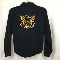 Women's HARLEY DAVIDSON XS Button Shirt Long Sleeve Embroidered Black