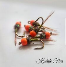 Hot Head Olive Nymph Size 16 (Set of 3) Fly Fishing Flies Grayling beads