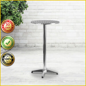 """25.5"""" ALUMINUM BAR HEIGHT TABLE Round Tall Pub Folding Indoor Outdoor Patio NEW"""