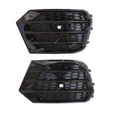 For AUDI Q3 16 17  Glossy Black Front Lower Bumper Fog Light Cover Grill L+R Set