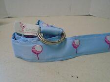 Top It Off Blue Golf Ball Belt Fabric D Ring M Medium Preppy Tee Adjustable New