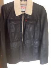 levi leather jacket . Black . Extra Large. Faux Fur Inner Lining