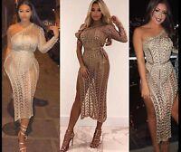 Womens Evening One Shoulder Dress Metallic Knit Thigh High Split Asymmetric Maxi
