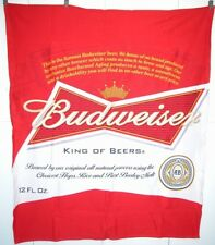 "Budweiser Beer Throw Blanket Tail-gating Advertising 49 x 64"" Fleece Back"