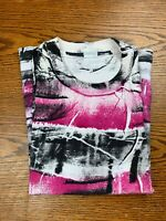 Vintage 90s All Over Print Striped Shirt Sz M/L Black Red Single Stitch Radical