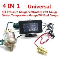 LD_ ND_ Universal 4in1 Car Oil Pressure Gauge Voltmeter Water Temp Meter W/Sen