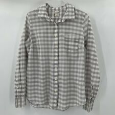 J. Crew Women's Top Small Favorite Fit Factory Gray White Plaid Button