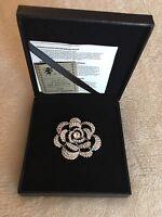 Reduced !Swarovski Rhinestone Cutout ROSE Flower Floral Pin Bridal Brooch w/Box